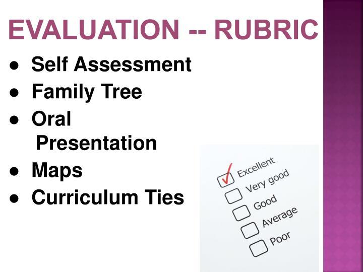 Evaluation -- Rubric