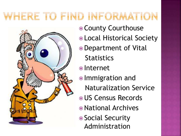 WHERE TO FIND INFORMATION