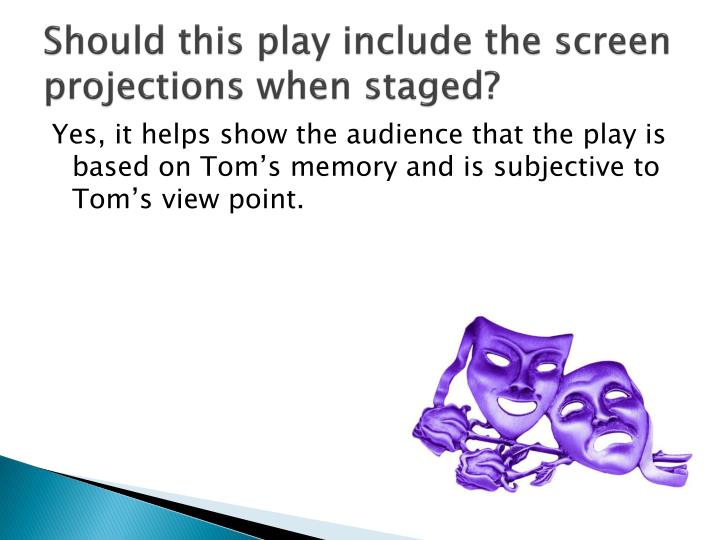 Should this play include the screen projections when staged