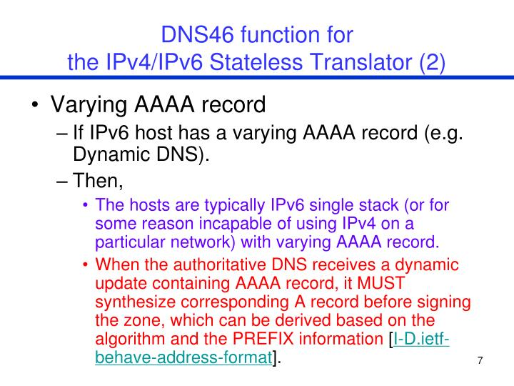 DNS46 function for