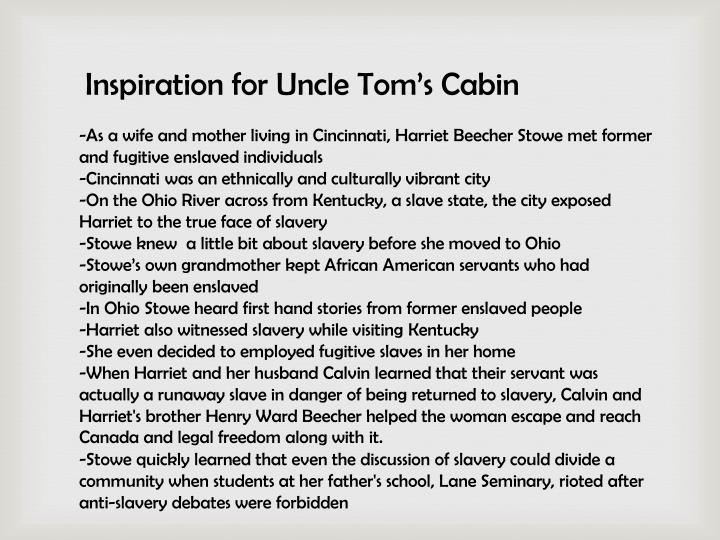 a case against slavery uncle toms cabin essay Starting an essay on harriet beecher stowe's uncle tom's cabin organize your thoughts and more at our handy-dandy shmoop writing lab.