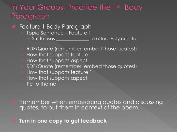 In Your Groups, Practice the 1