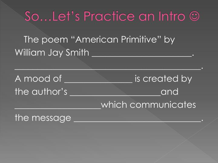 So…Let's Practice an Intro