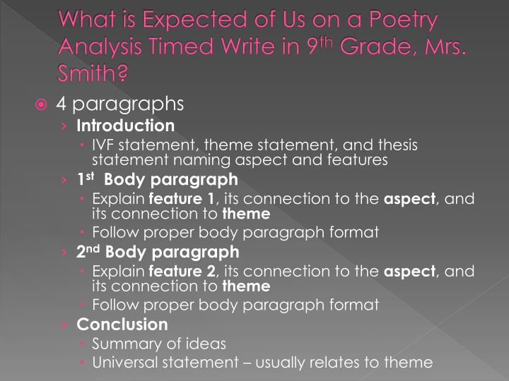 What is Expected of Us on a Poetry Analysis Timed Write in 9