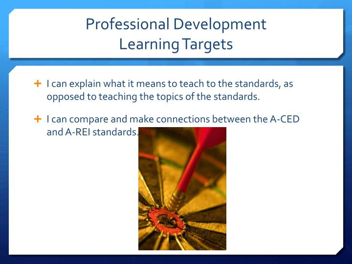 Professional development learning targets