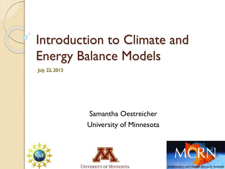 introduction to climate and energy balance models n.