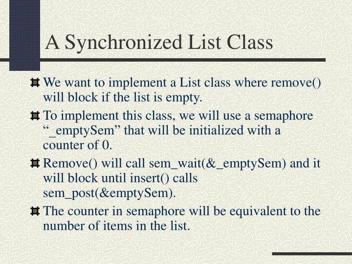 A Synchronized List Class