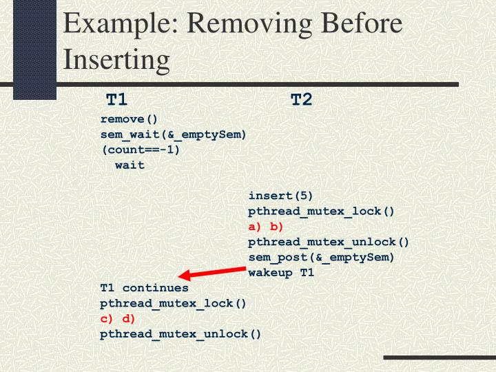 Example: Removing Before Inserting