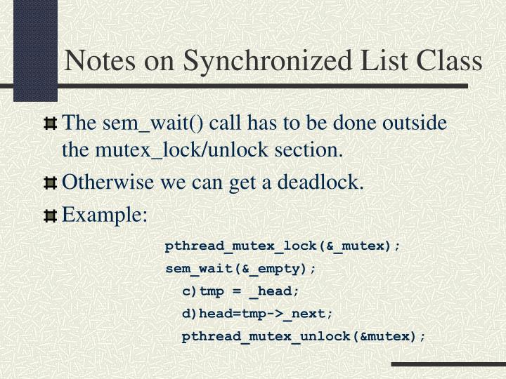Notes on Synchronized List Class