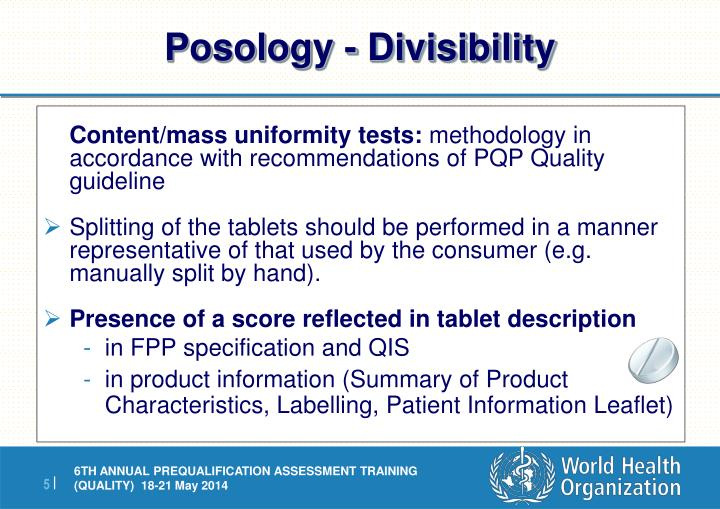 Posology - Divisibility