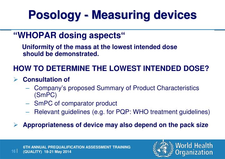 Posology - Measuring devices