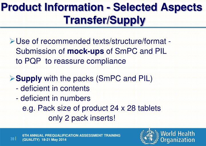 Product Information - Selected Aspects