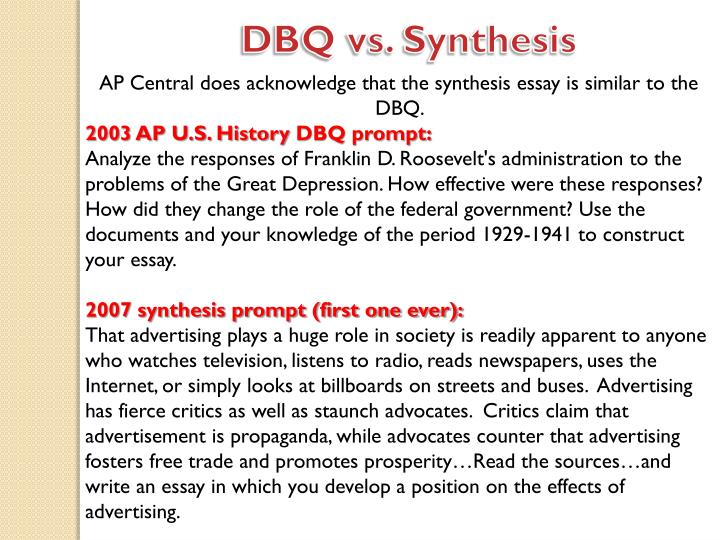 """ap synthesis essay powerpoint """"synthesis"""" is the combining of separate elements or substances to form a  coherent  a synthesis essay brings together your own ideas with the ideas of  other."""