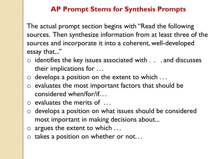 ap synthesis essay powerpoint Transcript of overview of the ap synthesis essay ap english language and composition synthesis essay what you need to do for the synthesis essay what you need to know.