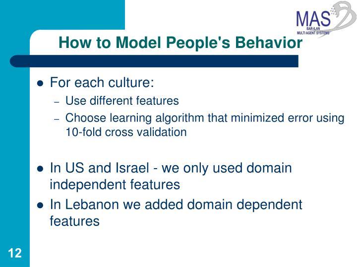 How to Model People's Behavior