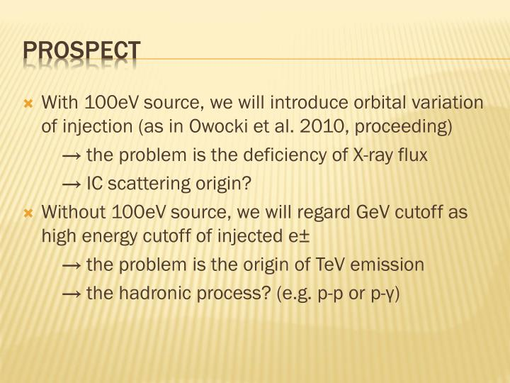With 100eV source, we will introduce orbital variation of injection (as in