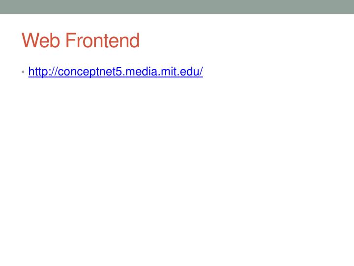 Web Frontend