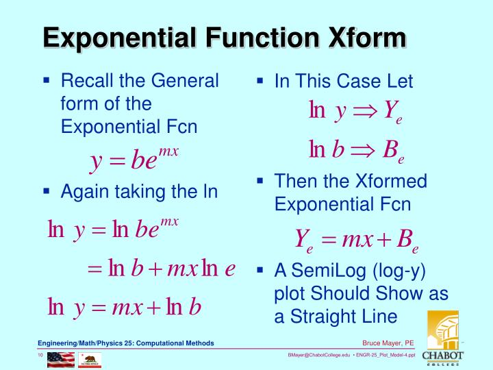 Recall the General form of the Exponential Fcn