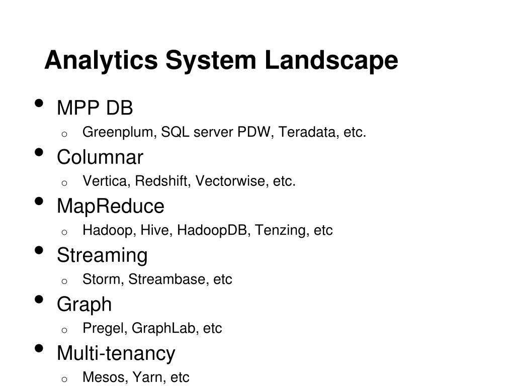 """PPT - Benchmarking """"No One Size Fits All"""" Big Data Analytics"""