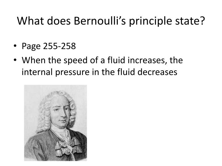 What does Bernoulli's principle state