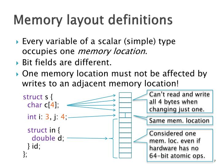 Memory layout definitions