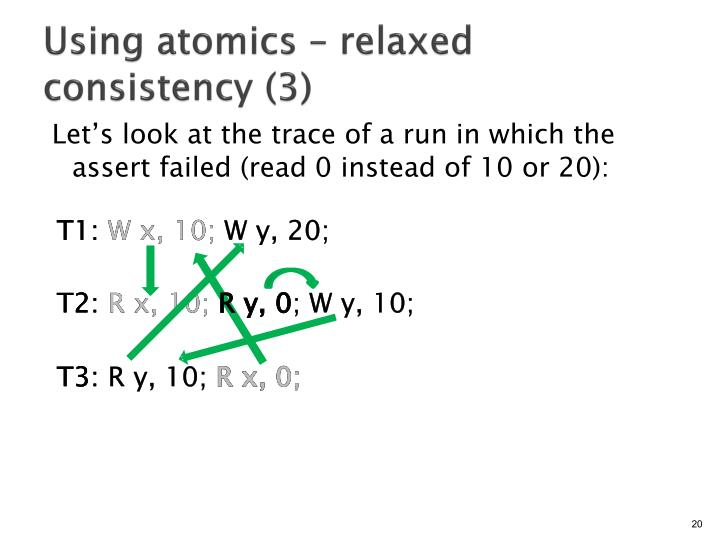 Using atomics – relaxed consistency (3)