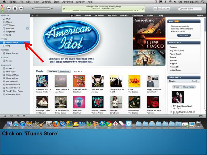 """Click on """"iTunes Store"""""""