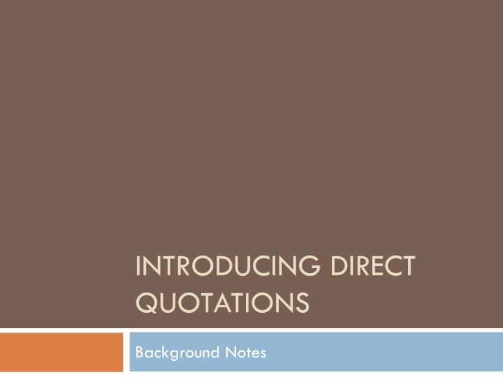 introducing direct quotations n.