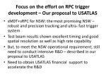 focus on the effort on rpc trigger development our proposal to usatlas