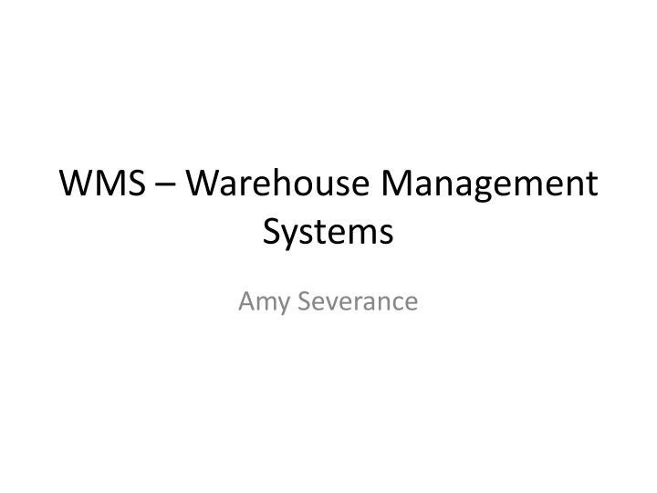 wms warehouse management systems n.