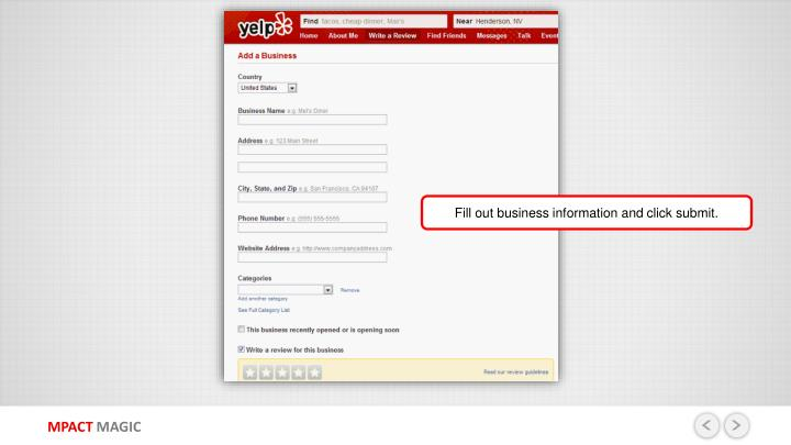 Fill out business information and click submit.