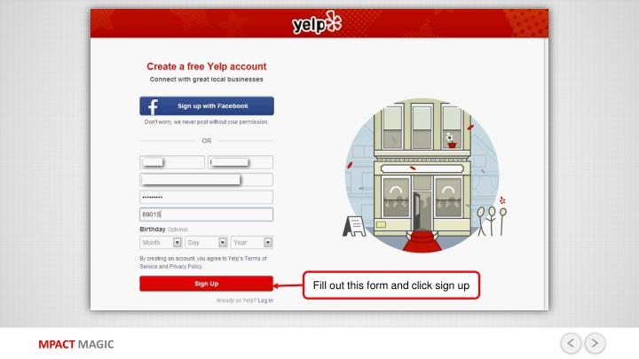 Fill out this form and click sign up