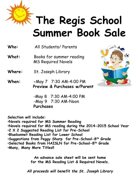 ppt the regis school summer book sale powerpoint presentation id