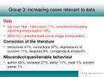 group 3 increasing cases relevant to data
