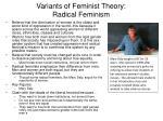 variants of feminist theory radical feminism
