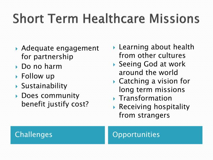 Short Term Healthcare Missions