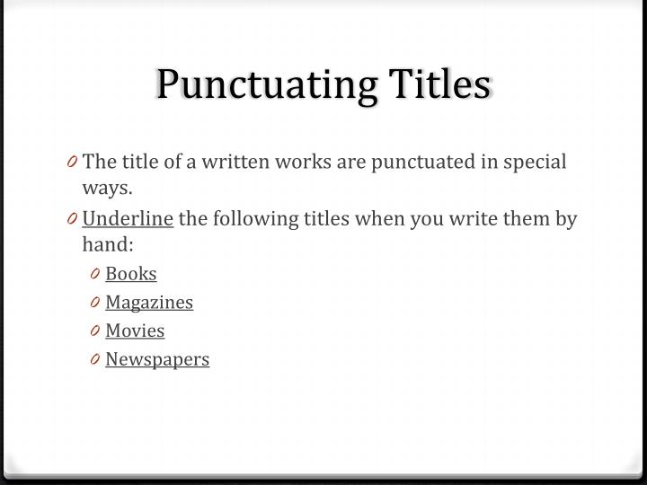 Punctuating titles1