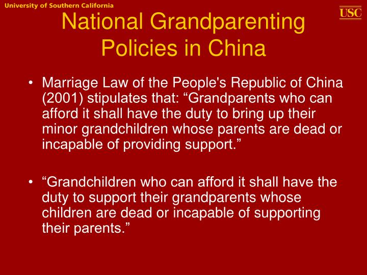 National Grandparenting Policies in China