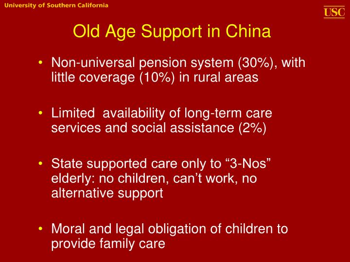 Old Age Support in China