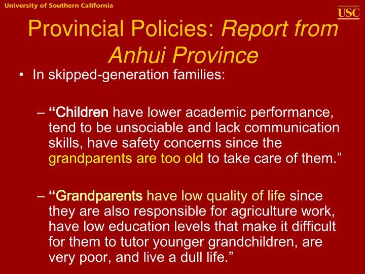 Provincial Policies: