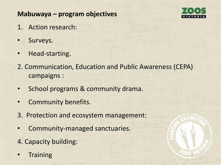 Mabuwaya – program objectives