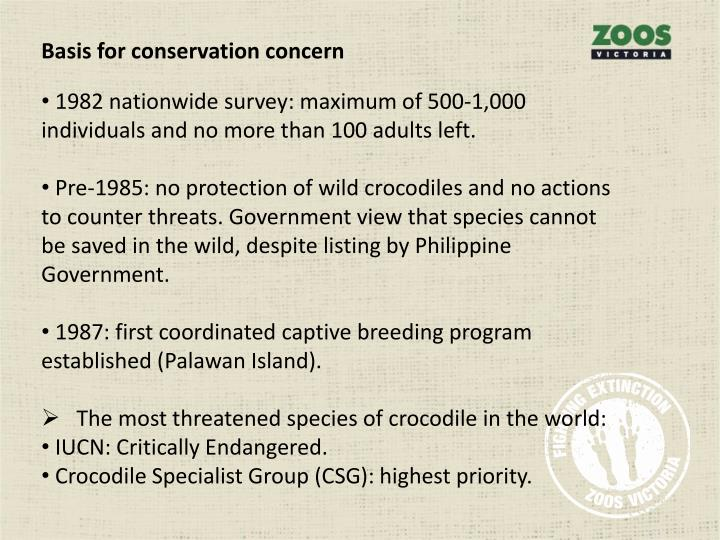Basis for conservation concern