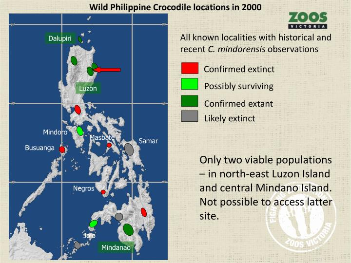 Wild Philippine Crocodile locations in 2000