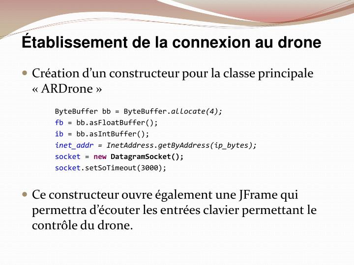 Établissement de la connexion au drone