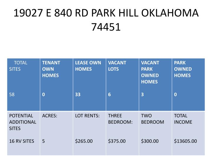 19027 E 840 RD PARK HILL OKLAHOMA 74451