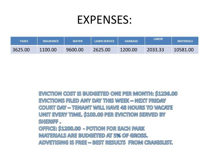 EXPENSES: