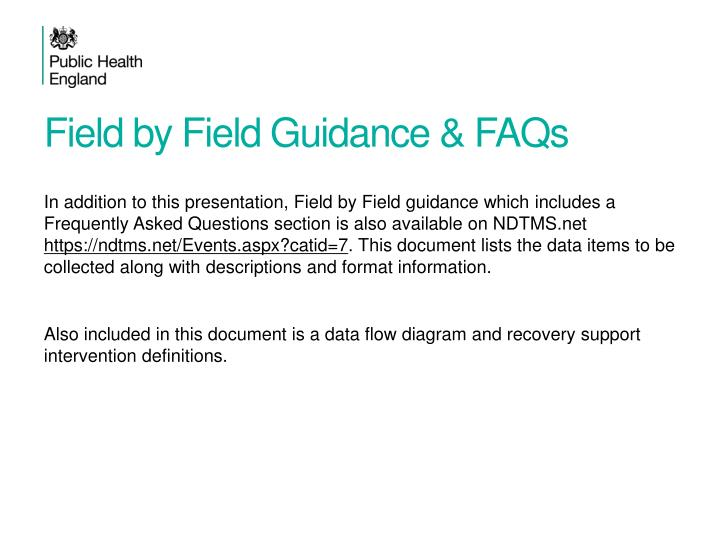 Field by Field Guidance