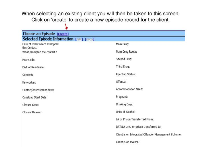 When selecting an existing client you will then be taken to this screen.