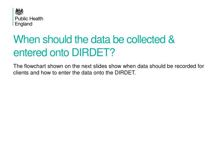 When should the data be collected & entered onto DIRDET?