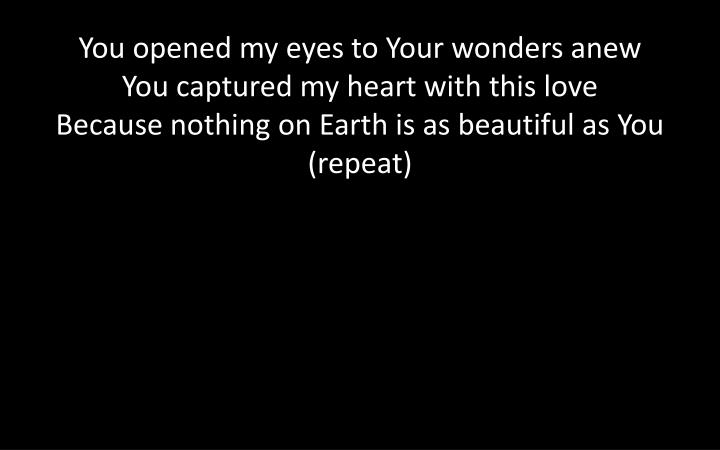 You opened my eyes to Your wonders anew